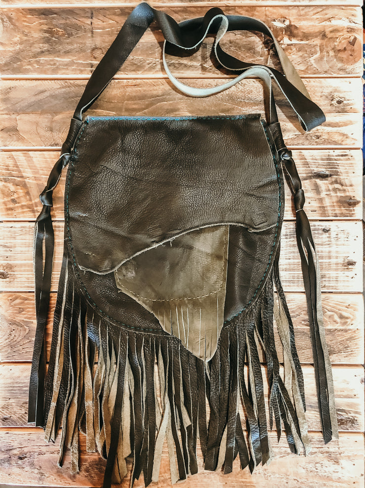 Bernice Fringe shoulder Bag- Olive