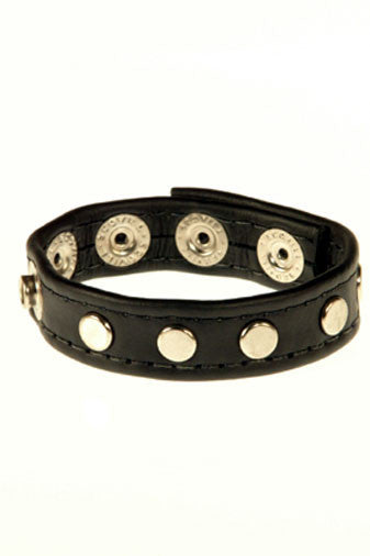 Studded Leather Cock and Ball Ring