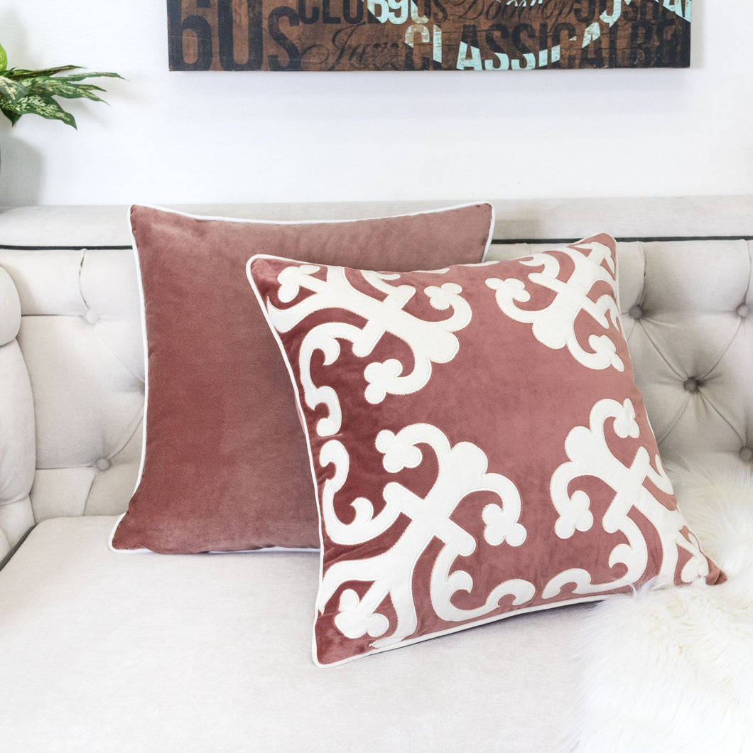 Applique Poly Velvet Blush With Beautiful Corners Designer Throw Pillo Home Accent Pillows