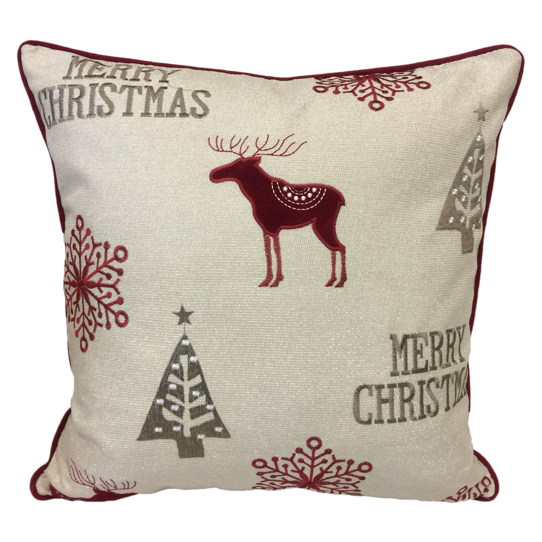 Merry Christmas Poly Linen Embroidered And Applique Designer Pillow Wi Home Accent Pillows