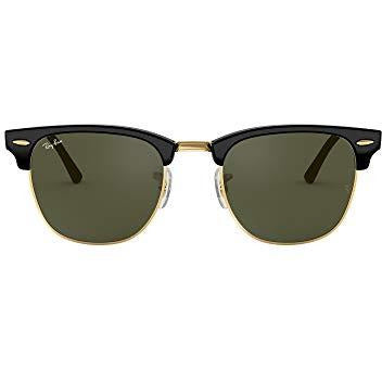 Ray-Ban Unisex-Adult RB 3016 Clubmaster Sunglasses, Black On Gold/Green, 51 mm