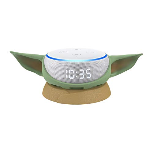 Echo Dot (3rd Gen) with Clock with Mandalorian The Child stand