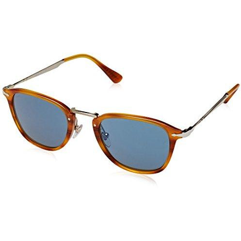 Persol PO3165S Sunglasses 960/56-50 - Striped Brown Frame, Light Blue