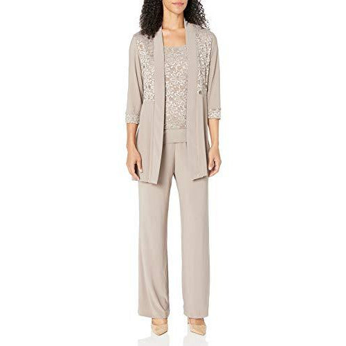 R&M Richards Women's Lace Pant Set, Mocha, 8