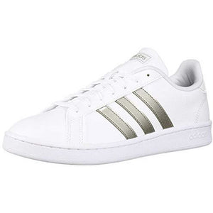 adidas womens Grand Court Sneaker, White/Platino Metallic/White, 7.5 US