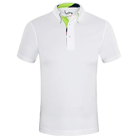 EAGEGOF Men's Shirts White Short Sleeve Tech Performance Golf Polo Shirt Loose Fit Medium