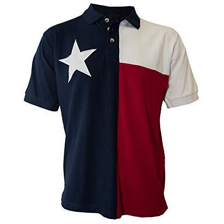 Tiger Hill Men's Texas Flag Polo Shirt Large