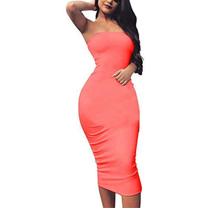 BORIFLORS Women's Basic Sleeveless Tube Top Sexy Strapless Bodycon Midi Club Dress,Medium,Fluo Pink