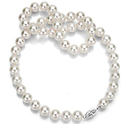 14K White Gold White Japanese Cultured Akoya Pearl Necklaces for Teen Girls 18 inch 6.5-7mm
