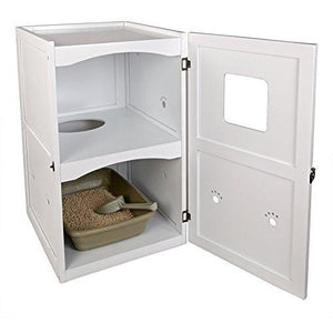 "Petsfit 21x25x35 Inches White Double-Decker Pet House Litter Box Enclosure Night Stand Painted With Non-Toxic With Latch Holding The Door 21""L x 23""W x 35""H"