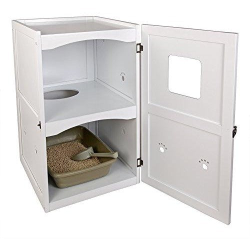 Petsfit 21x25x35 Inches White Double-Decker Pet House Litter Box Enclosure Night Stand Painted With Non-Toxic With Latch Holding The Door 21