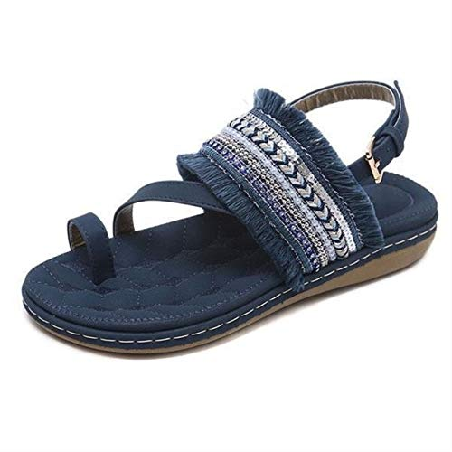 Womens Casual Fringed Beach Sandals, Bohemian Summer Peep Toe Cork Flats (Navy Blue)