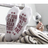 """Bring Me Some Wine"" Luxury Combed Cotton Socks with Gift Box - Perfect Hostess or Holiday Gift Idea for Women, Cute Christmas Gift Idea for Wine Lover, New Mom or Wife - By Haute Soiree"