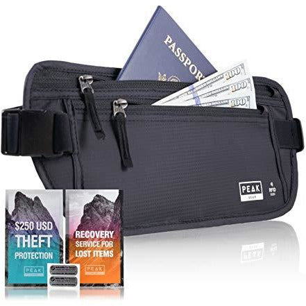 Travel Money Belt with RFID Block - Theft Protection and Global Recovery Tags (Black REG - fits most)