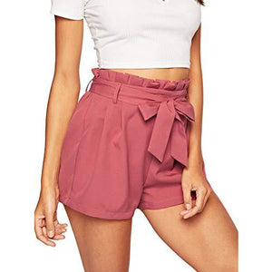 Women's Casual Elastic Waist Seft Tie Summer Beach Shorts w/ Pockets (Coral/Pink)