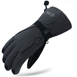 MCTi Waterproof Mens Ski Gloves Winter Warm 3M Thinsulate Snowboard Snowmobile Cold Weather Gloves Grey Large