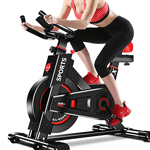 Dripex Upright Exercise Bikes (Indoor Studio Cycles) - Studio Quality with Heart Rate Monitor, Large Bidirectional Flywheel, Belt Drive, Infinite Resistance, LCD Displays, Hand Pulse