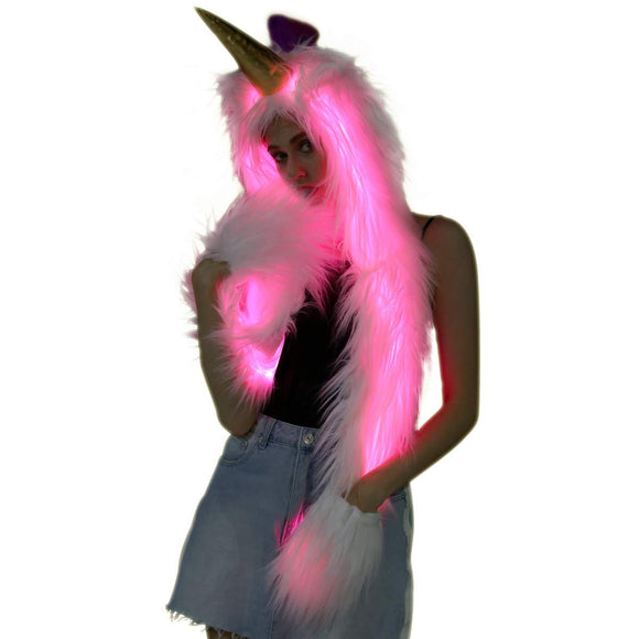 Light Up Unicorn Hat Faux Fur Animal Hoodie LED Hat With Scarf Gloves Mittens (Led Unicorn Hood Hat)