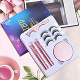 6 Pairs Magnetic Eyelashes with Eyeliner, 3D 5D Magnetic Eyelashes False Eyelashes Pack With Tweezers are Firm and Easy to Stick Natural Look Lashes for Women- No Glue Needed