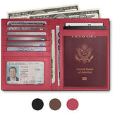 RFID Blocking Leather Passport Holder For Men and Women - Pink