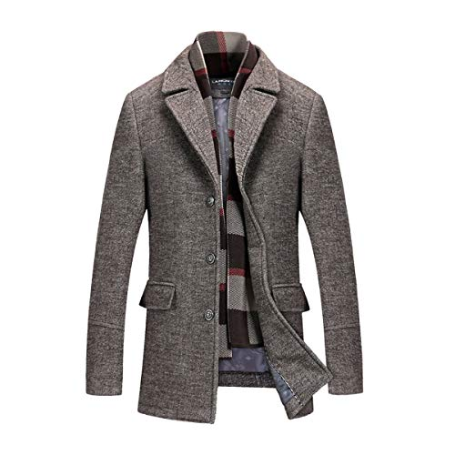 INVACHI Men's Slim Fit Winter Warm Short Wool Blend Coat Business Jacket with Free Detachable Soft Touch Wool Scarf,Coffee,Large