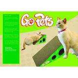 Premium Cat Scratcher by GoPets, Wedge Shaped Corrugated Cardboard is Reversible Lasts 2x Longer Includes 1 Pack Catnip, Natural Incline More Ergonomic Than Scratching Post, Cutouts to Hide Toys