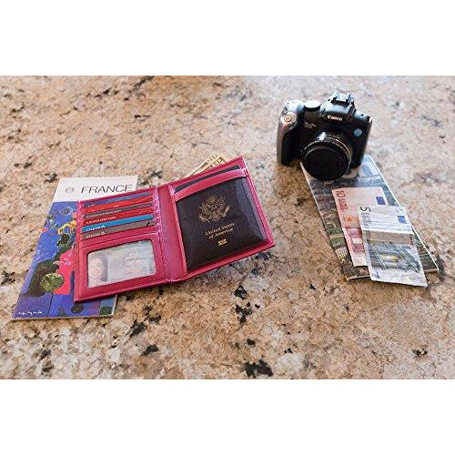 f1b841b116be RFID Blocking Leather Passport Holder For Men and Women - Pink