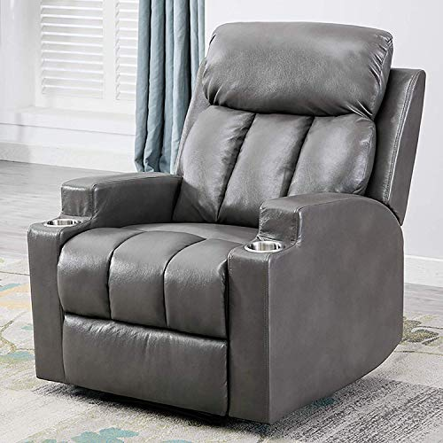 ANJ Breathable PU Leather Recliner Chair with 2 Cup Holders Contemporary Theater Seating Padded Single Sofa for Living Room(Light Grey)