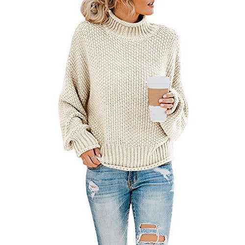 Saodimallsu Womens Turtleneck Oversized Sweaters Batwing Long Sleeve Pullover Loose Chunky Knit Jumper Beige
