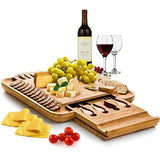 Bamboo Cheese Board with Cutlery Set, Wood Charcuterie Platter and Serving Meat Board with Slide-Out Drawer with 4 Stainless Steel Knife and Server Set - Personalized Gifts. Designed By: Bambusi