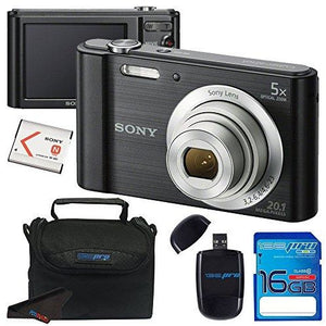 Sony Cyber-shot DSC-W800 Digital Camera (Black) + 16GB Memory Card + Accessory Bundle