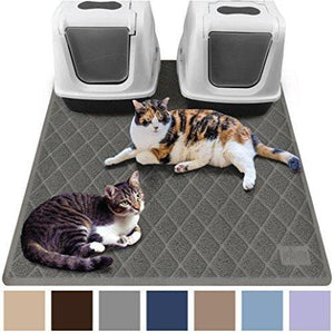 Gorilla Grip Original Premium Durable Multiple Cat Litter Mat (47x35), XL, No Phthalate, Water Resistant, Traps Litter from Box and Cats, Mats Soft on Kitty Paws (Gray)