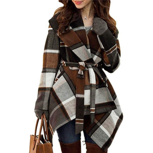 Chicwish Women's Turn Down Shawl Collar Open Front Long Sleeve Check Asymmetric Hemline Wool Blend Coat, Brown, Large