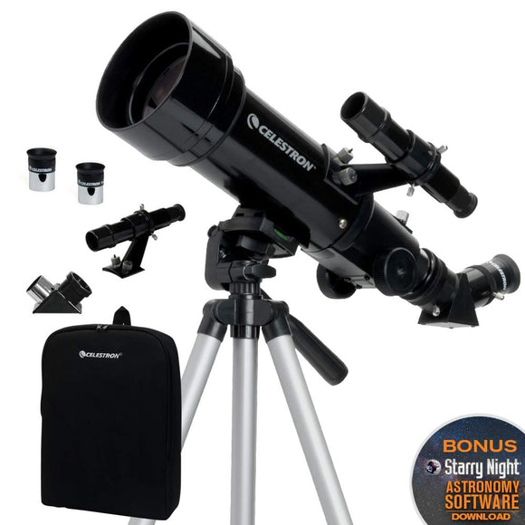 Celestron - 70mm Travel Scope - Portable Refractor Telescope - Fully-Coated Glass Optics - Ideal Telescope for Beginners - BONUS Astronomy Software Package