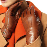 Elma Women's Touch Screen Italian Nappa Leather Winter Texting Gloves (7, Saddle yellow)