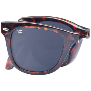 Foldies Tortoise Shell Folding Sunglasses with Polarized Black Lenses