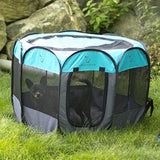 Unleashed Pets Portable Foldable Pet Playpen + Carrying Case & Collapsible Travel Bowl | Indoor / Outdoor use | Water resistant | Removable shade cover | Dogs / Cats / Rabbit | Available In 2 Sizes