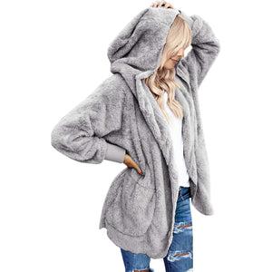 LookbookStore Women's Oversized Open Front Hooded Draped Pocket Cardigan Coat Size S (Fit US 4 - US 6) Light Grey