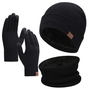 Winter Men Beanie Hat, Scarf, Touch Screen Gloves, 3 Pieces Winter Warm Clothing Set For Men, Black, One Size