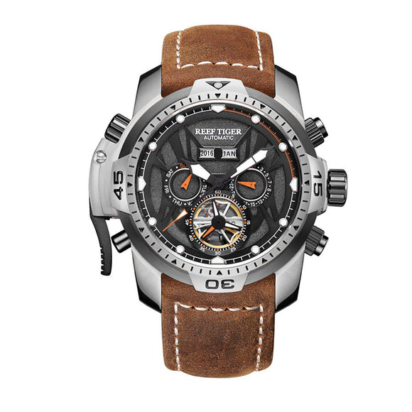 Reef Tiger Mens Sport Watches Stainless Steel Automatic Watch Military Watches Leather Strap RGA3532 (RGA3532-YBRO)