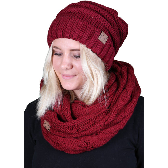 bHS-6100-64 Oversized Beanie Scarf Bundle - Burgundy (Solid)