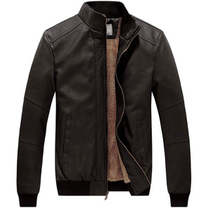 WenVen Men's Stand Collar Faux Leather Motorcycle Warm Jacket Grey Small