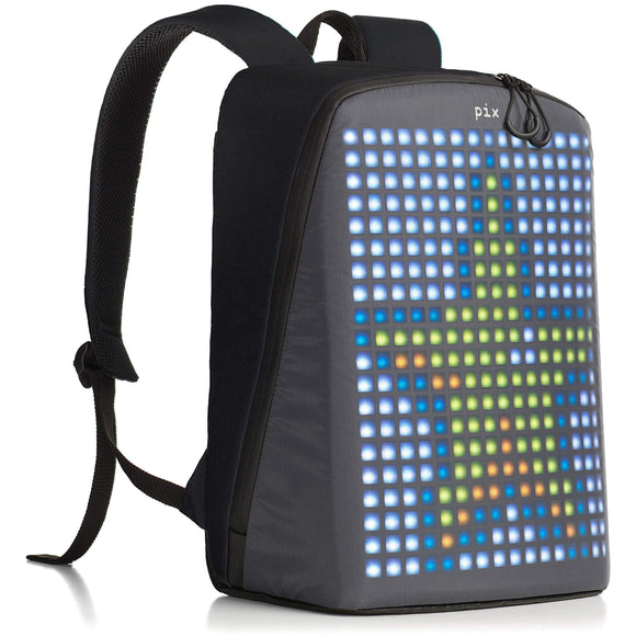 Pix Digital Customizable Backpack - Smart Waterproof Backpack with programmable LED Screen - 15'' Laptop Backpack for Women & Men (No Powerbank, Black)