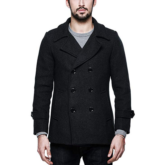 Match Mens Wool Blend Classic Pea Coat Winter Coat (US XS/CN L (Fit 33