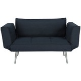 DHP Euro Sofa Futon Loveseat with Chrome Legs and Adjustable Armrests - Navy