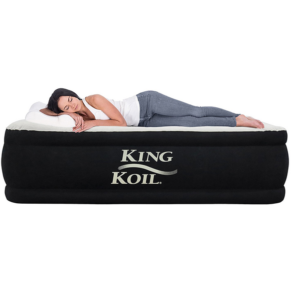 King Koil QUEEN SIZE Luxury Raised Air Mattress - Best Inflatable Airbed with Built-in Pump - 1-year GUARANTEE