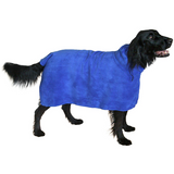The Snuggly Dog Easy Wear Dog Towel. Luxuriously Soft, Fast Drying 400gsm Microfiber. Soft Belt included for a Warm Plush Dog Robe. Medium Blue