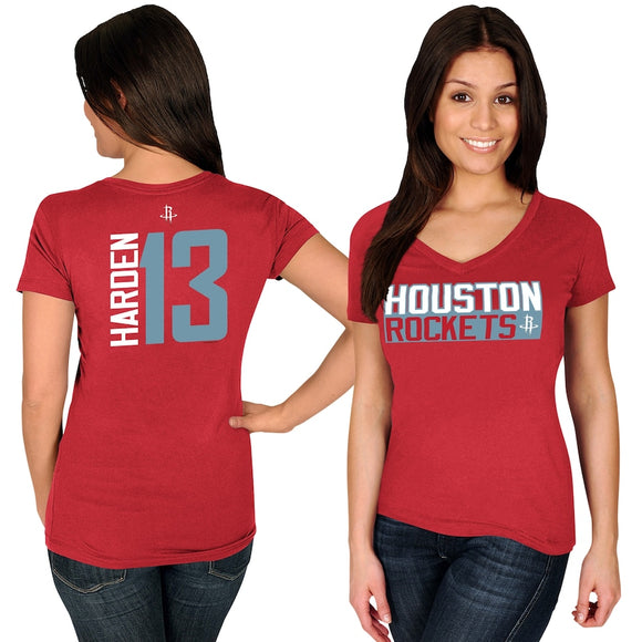 James Harden Houston Rockets Majestic Women's Name & Number V-Neck T-Shirt - Red