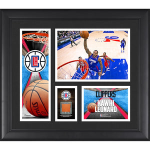"Kawhi Leonard Los Angeles Clippers Fanatics Authentic Framed 15"" x 17"" Player Collage with a Piece of Game-Used Basketball"