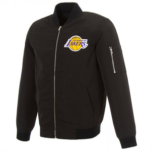 LeBron James Los Angeles Lakers Fanatics Branded Player Full-Zip Bomber Jacket - Black